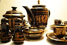 24 KARAT GOLD GREEK BLACK COFFEE TEA SET -VINTAGE