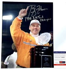 PHILLIP FULMER SIGNED 1998 NATIONAL CHAMPS 11x14 TROPHY PHOTO TENNESSEE PSA COA