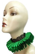 Green Satin Lace Elizabethan Neck Ruff Ruffled Collar Victorian Steampunk Queen