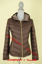 Michael Kors Packable Hooded Quilted Down Jacket Coat XS Espresso/Leopard