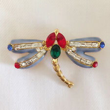New Dragonfly Symbolism Spirit Power Totem & Power Red Blue Brooch Pin BR01135
