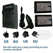 2pk NP-FV100 Battery+charger for Sony Handycam HDR-SR200 HDR-SR300 Camera
