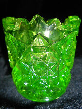 neon Green Vaseline glass toothpick holder star / diamond pattern uranium yellow