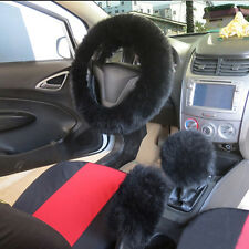 Chic Black One Fur Car Warm Plush Steering Wheel Cover Case For Winter Universal