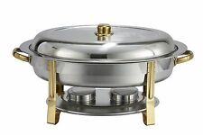Winco 202, 6-Quart Gold-Accented Stainless Steel Oval Chafer