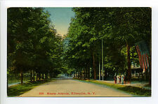 Ellenville NY (Ulster Co) Maple Avenue, people, see flag?, early