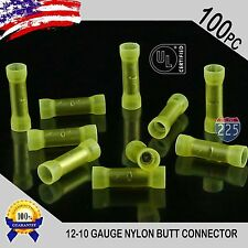 100 Pack 12-10 Gauge Wire Butt Connectors Yellow Nylon AWG Crimp Terminals US UL