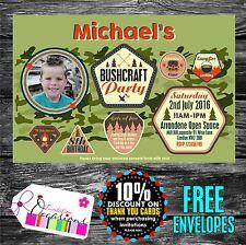 Personalised Birthday Invitations Bushcraft Party  x 5