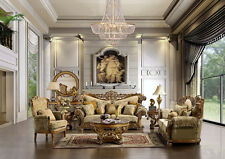 Formal Antique Style Luxury Sofa & Love Seat 7 Piece Living Room Set HD-369