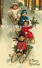 Vintage Christmas Fabric Block Victorian Sledding