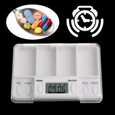 Pills Reminder Medicine Alarm Electronic Timer Box Case Organizer 4 Grid New