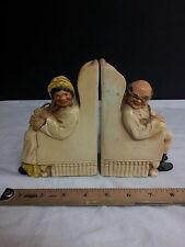 Book ends art deco book shelf old couple Porcelain used 1957 antique vintage 777