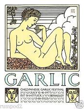 Art Deco Poster/Kitchen Decor/Chez Panisse Restaurant/Garlic/17x22 inch