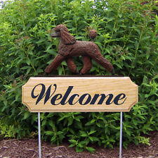 Poodle Dog Breed Oak Wood Welcome Outdoor Yard Sign Brown