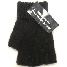 3pairs navy  Fingerless Half Finger warm stretch thermal Gloves gents glove