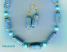 Vintage Venetian Murano Millefiori Turquoise Bead Necklace & Earrings N1451T