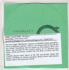 (EO294) Chairlift, Met Before - 2012 DJ CD