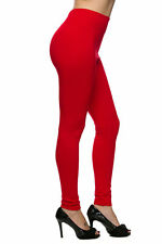 Solid Red Leggings TC Always 92% Polyester 8% Spandex Brushed OS #21