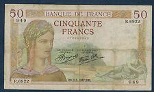 FRANCE - 50 FRANCS CÉRÈS Fay n° 18. 3 du 9-9-1937.DK. en TB   R.6922 949