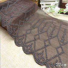"1 Yard Chocolate Brown Vintage Delicate Net Wide Lace Trim  7 1/2"" Wide"