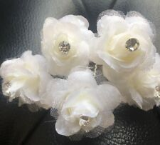 5 Bridal Wedding Ivory Rose Flower And Clear  Diamond Hair Pins Clips handmade