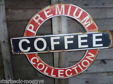 VINTAGE COFFEE SIGN OR PLAQUE LONDON UNDERGROUND STYLE LARGE METAL SHABBY CHIC