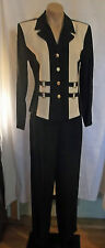 80s does 40s Style Navy and Cream Pant Suit by DJ & Co.sz S-M
