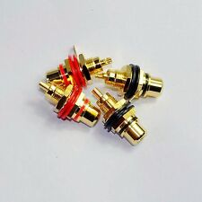 4pcs GOLD RCA Jack Female Chassis Connector AMP sockets