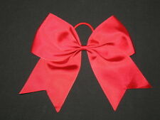 """NEW """"RED"""" Cheer Bow Pony Tail 3 Inch Ribbon Girls Hair Bows Cheerleading Dance"""
