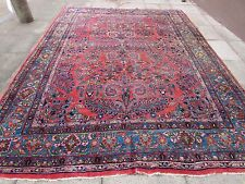 Antique Traditional Persian Wool Pink Oriental Hand Made Big Carpet 360x266cm