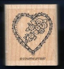 HEART Lace DOILY Edge Floral love Valentine Stampin' Up! 1997 Wood RUBBER STAMP
