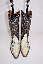 FERRINI WOMENS 7.5 B WHITE BLACK SNAKESKIN LEATHER ROPERS COWBOY WESTERN BOOTS