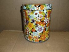 VINTAGE ROUND TIN CAN WITH FLORAL DESIGNS ON SIDES AND TOP COVER