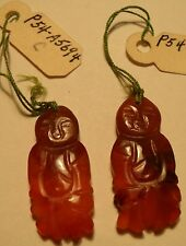 Pair Vintage Chinese Carved Dark Carnelian Buddha or Sage Charm Pendants New/Old
