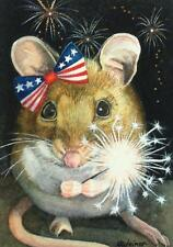 ACEO Limited Edition Print Patriotic Mouse 4th of July Sparkler by J. Weiner