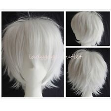 Unisex Cosplay Short Straight Hair Wig Women Men Halloween Dress Full Wigs White