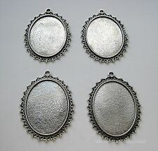 4 Antique Silvertone Elegance 40mm x 30mm CAMEO Costume PENDANTS Frame Setting