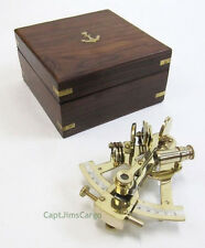 """Solid Brass Sextant 4.87"""" w/ Wooden Case Nautical Astrolabe Ship Decor New"""