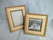 """2 ANTIQUE STYLE WOOD FRAMES BY TERRAGRAFICS,. FIT 5X5"""" & 5X7"""" PHOTOS, EASEL BACK"""