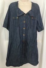 MADEWELL Large Chambray Dress Blue Cotton Cinch-waist Button Front Tunic