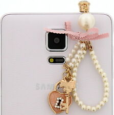 Heart Lock Key Pearl Cell Phone Charm Pendant Dust Plug IPhone Galaxy Note Mega