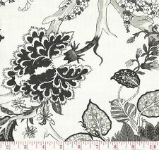 100% Linen Black White Floral Print Upholstery Fabric Ceylon 047 BTY