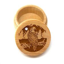 Maple Wood Laser Carved Bald Eagle Tree Round Trinket Box Inlaid Mother of Pearl