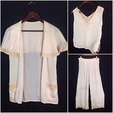Vintage 1930s Pale Pink  Sleeveless Beach Pajama Set Pants Blouse Bed Jacket S