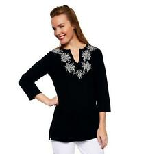 New Isaac Mizrahi size S - Embroidered Tunic A230582 Small Black
