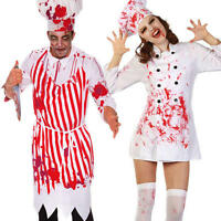 Bloody Chefs Adults Halloween Fancy Dress Mens Ladies Butchers Uniform Costume