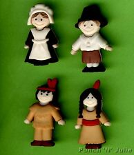 PILGRIMS & INDIANS - Amish & Native American People Dress It Up Craft Buttons