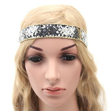 GIRLS HEADBAND Silver Sequins Childs Head Size 43cm Hairband Elastic Hair Band