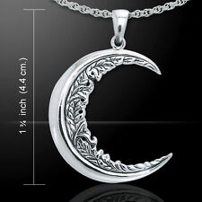 Crescent Moon Flower .925 Sterling Silver Pendant by Peter Stone