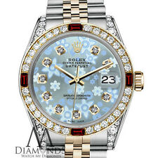 Women's Rolex 31mm Datejust 2Tone Glossy Ice Blue Flower Dial Ruby & Diamond
